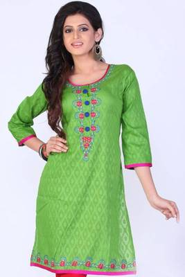 Yellow-green Cotton Embroidered Party and Festival Kurti