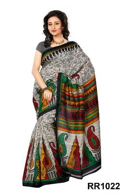 Riti Riwaz grey art silk saree with unstitched blouse RR1022