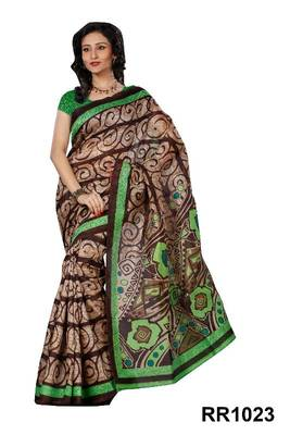 Riti Riwaz grey-brown art silk saree with unstitched blouse RR1023
