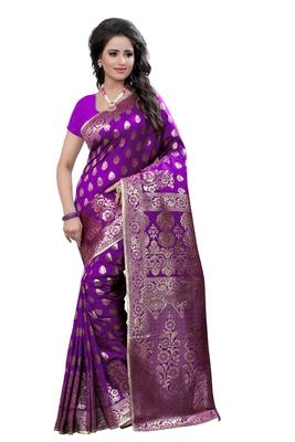 Purple printed banarasi saree with blouse