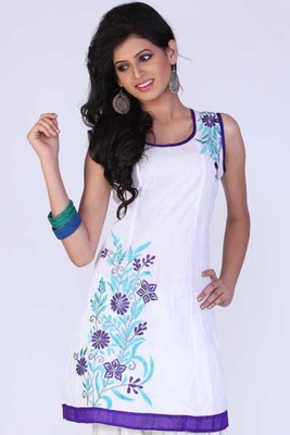 Off-white Cotton Embroidered Party and Festival Kurti