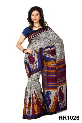 Riti Riwaz grey-blue art silk saree with unstitched blouse RR1026