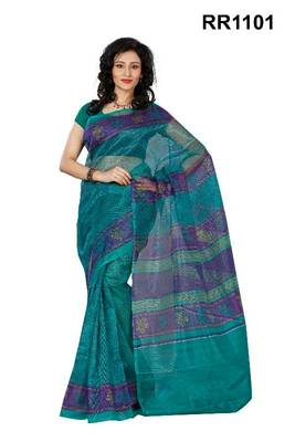 Riti Riwaz green super net saree with unstitched blouse RR1101
