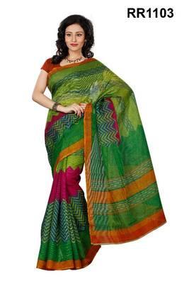 Riti Riwaz green super net saree with unstitched blouse RR1103