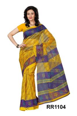 Riti Riwaz yellow super net saree with unstitched blouse RR1104