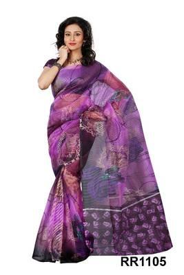 Riti Riwaz purple super net saree with unstitched blouse RR1105