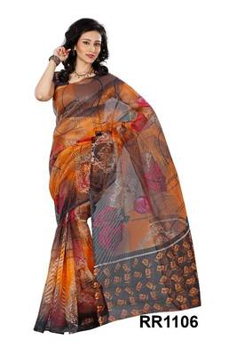 Riti Riwaz orange super net saree with unstitched blouse RR1106
