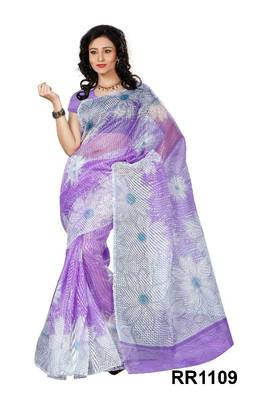 Riti Riwaz purple super net saree with unstitched blouse RR1109