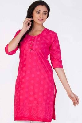 Amaranth Pink Cotton Printed Casual and Party Kurti