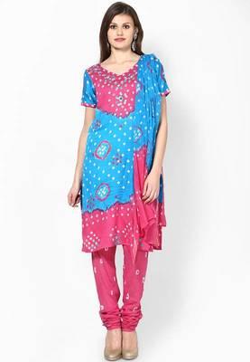Amazing Pink Cotton Bandhej Dress material