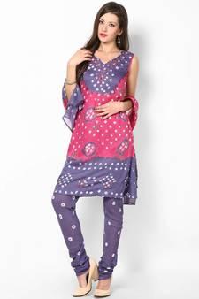 63157c0db44c11 Pink Grey Cotton Unstitched Salwar Suit Material
