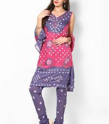 Pink Grey Cotton Unstitched Salwar Suit Material