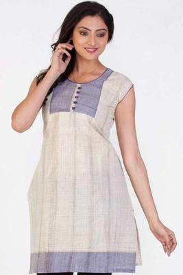 Beige Brown and Light Amethyst Violet Cotton Printed Kurti