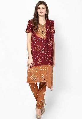 Brown Hand Work Dress Material