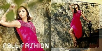 Pink Georgette embroidered designer drapedkurti