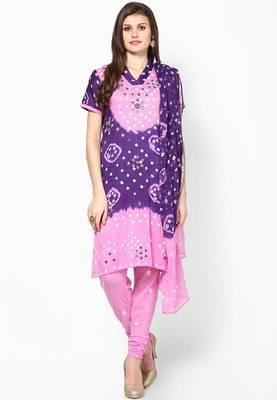 Beautiful Pink Purple Cotton Bandhej Dress Material