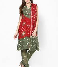 Buy Beautiful Red Green Cotton Bandhej Dress Material cotton-salwar-kameez online