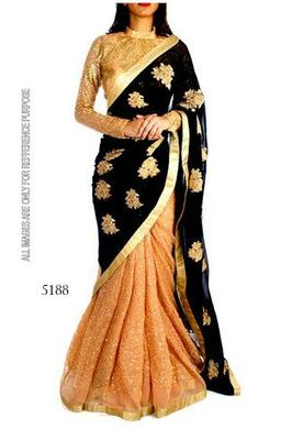 Black gold georgette and Net saree