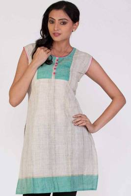 Beige Brown and Robin-egg Blue Cotton Printed Casual and Party Kurti