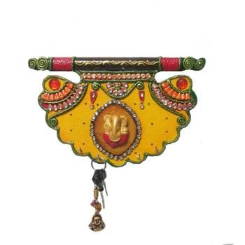 eCraftIndia Papier-Mache Shahi Pankhi Key Holder