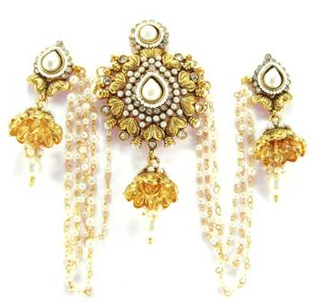 Indian bridal kundan faux pearl  gold plated bun pin earring be16