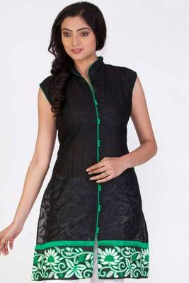 Black Cotton Embroidered Party and Festival Kurti