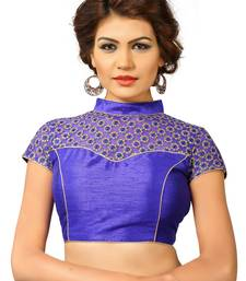 Royal blue silk and  net embrodiered stitched blouse