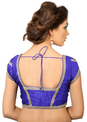 Royal Blue Dupion Silk Embrodiered Stitched Blouse