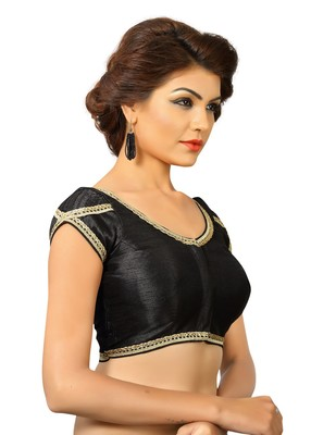 Black Dupion Silk Embrodiered Stitched Blouse