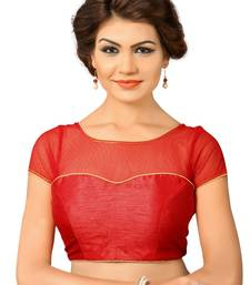 Red Silk And  Net Plain Stitched Blouse