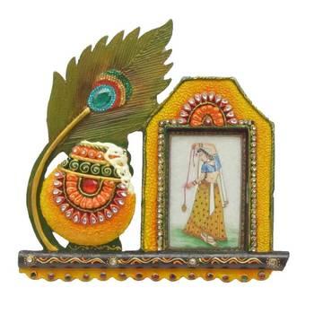eCraftIndia Papier-Mache Mor Pankhi and Matki Photo Frame