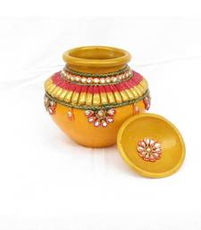 Buy eCraftIndia Papier-Mache Kundan Matki other-home-accessory online