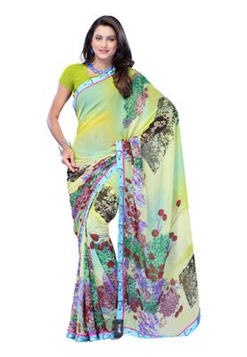 Fabdeal Multi Colored Faux Georgette Printed Saree
