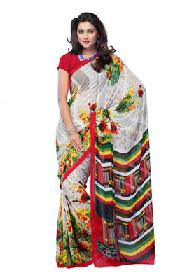 Fabdeal White Colored Georgette Printed Saree