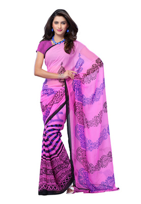 Fabdeal Pink Colored Georgette Printed Saree