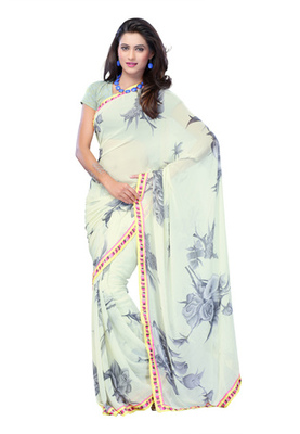 Fabdeal Light Blue Colored Faux Georgette Printed Saree