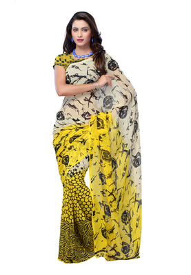Fabdeal Cream Colored Georgette Printed Saree
