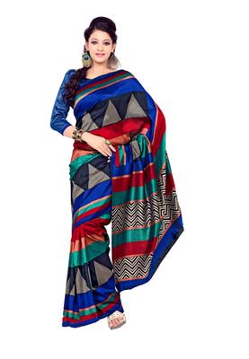 Fabdeal Multi Colored Tussar Silk Printed Saree