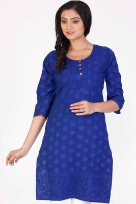 Dark Blue and Royal Blue Cotton Printed Casual and Party Kurti