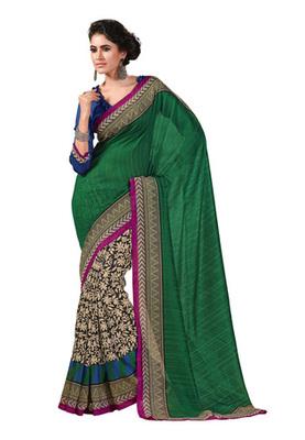 Fabdeal Green Colored Chappa Silk Printed Saree
