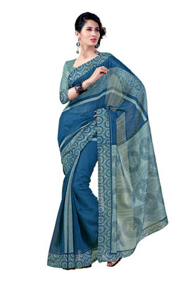 Fabdeal Blue Colored Chappa Silk Printed Saree
