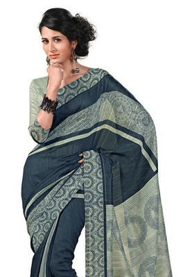 Fabdeal Dark Grey Colored Chappa Silk Printed Saree