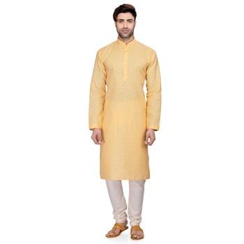 Yellow Men's Full Sleeve kurta pajama