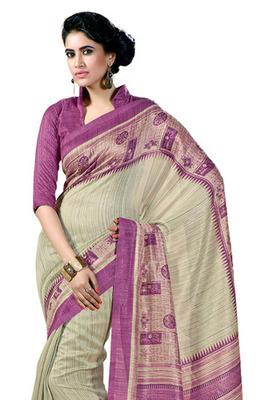 Fabdeal Cream Colored Chappa Silk Printed Saree