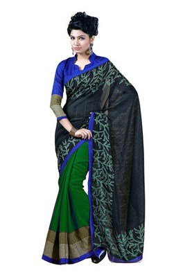 Fabdeal Black Colored Chappa Silk Printed Saree