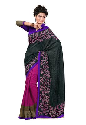 Fabdeal Black Colored Chappa Silk Printed Saree