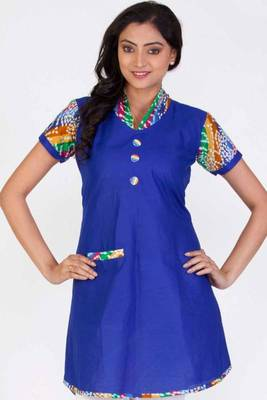 Dark Blue Cotton Printed Casual and Party Kurti