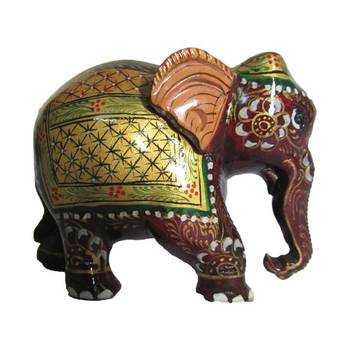 eCraftIndia Golden Painted Elephant Statue
