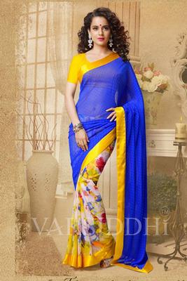 Glamorous Yellow Blue Coloured Printed Saree