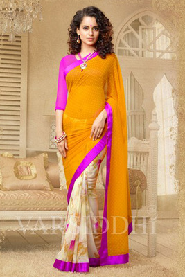Orange and Off-White Coloured Georgette Saree